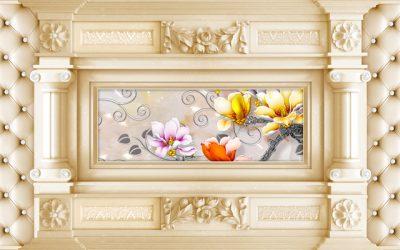 3d flower Piller for walls